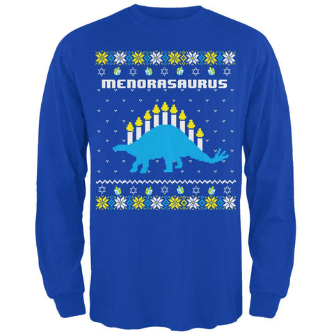 Hanukkah Ugly Sweater Menorasaurus Menorah Stegasaurus Mens Long Sleeve T Shirt