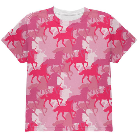 Unicorn Pink Camo Camouflage All Over Youth T Shirt