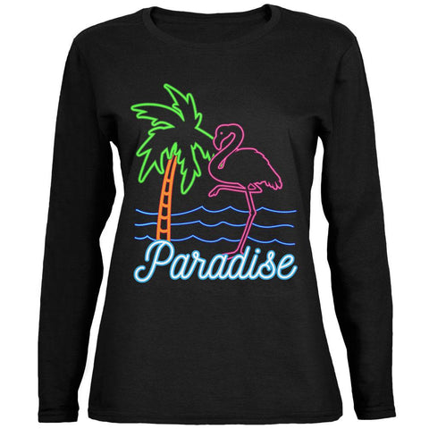 Retro 80s Neon Sign Flamingo Paradise Ladies' Jersey Long-Sleeve Tee