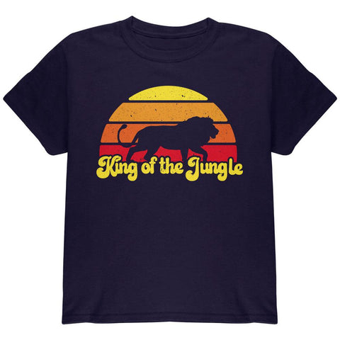 King Of The Jungle Lion Retro Sun Youth T Shirt