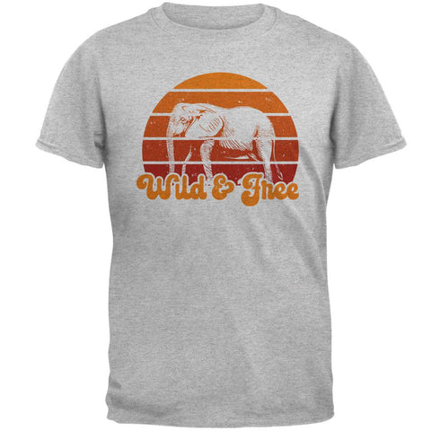 Elephant Wild And Free Retro Sun Mens T Shirt