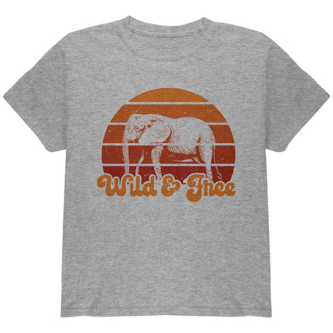 Elephant Wild And Free Retro Sun Youth T Shirt