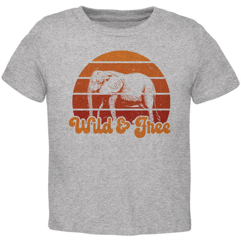 Elephant Wild And Free Retro Sun Toddler T Shirt