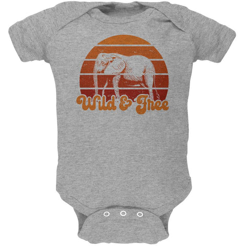Elephant Wild And Free Retro Sun Soft Baby One Piece
