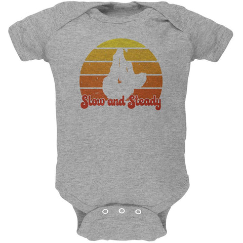 Sloth Slow and Steady Retro Sunset Soft Baby One Piece