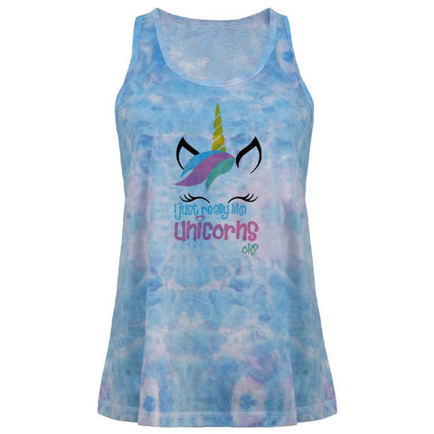 I Just Really Like Unicorns ok? Juniors Tie Dye Tank Top
