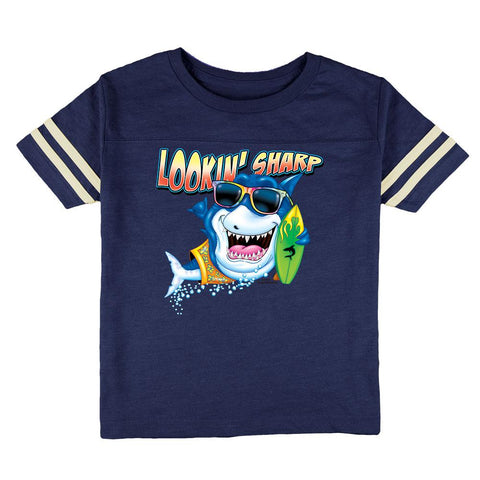 Shark Lookin' Sharp Toddler Football T Shirt