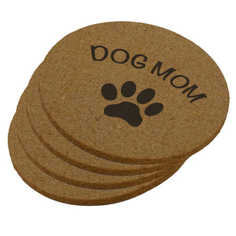 Mother's Day Dog Mom Round Cork Coaster (Set of 4)
