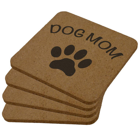 Mother's Day Dog Mom Square Cork Coaster (Set of 4)