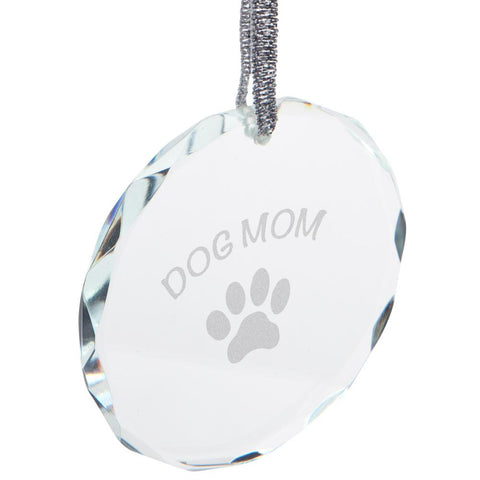Mother's Day Dog Mom Etched Round Crystal Ornament