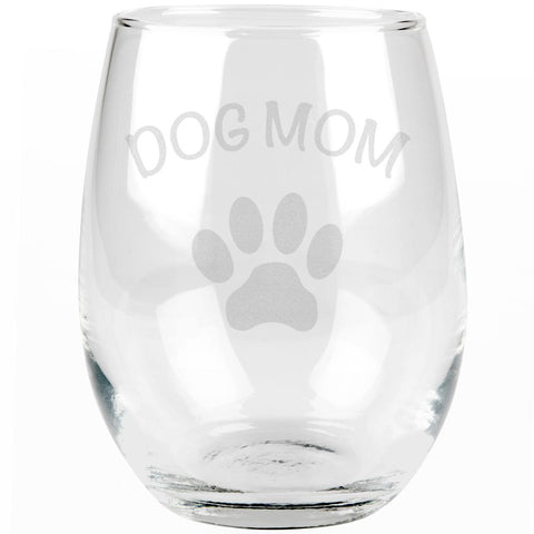 Mother's Day Dog Mom Etched Stemless Wine Glass