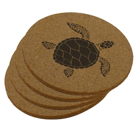 Summer Sun Sea Turtle Round Cork Coaster (Set of 4)
