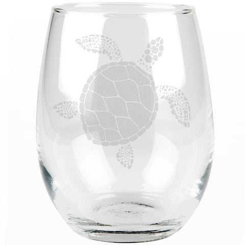 Summer Sun Sea Turtle Etched Stemless Wine Glass