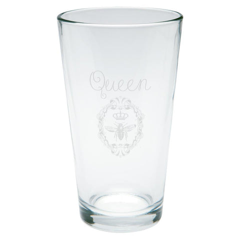 Queen Bee Etched Pint Glass