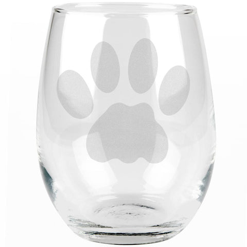 Cat Paw Etched Stemless Wine Glass