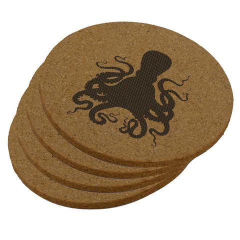 Octopus Round Cork Coaster (Set of 4)