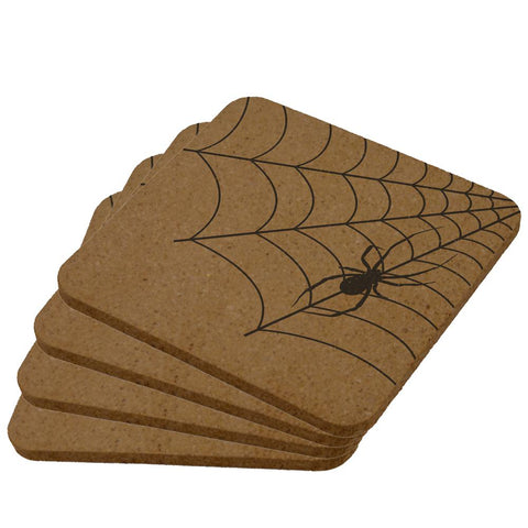Halloween Corner Spider Web Square Cork Coaster (Set of 4)