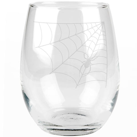 Halloween Corner Spider Web Etched Stemless Wine Glass
