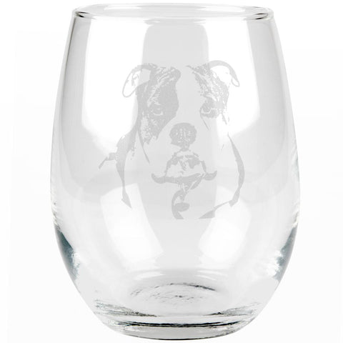Olde English Bulldog Etched Stemless Wine Glass