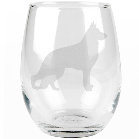 German Shepherd Guard Dog Silhouette Etched Stemless Wine Glass