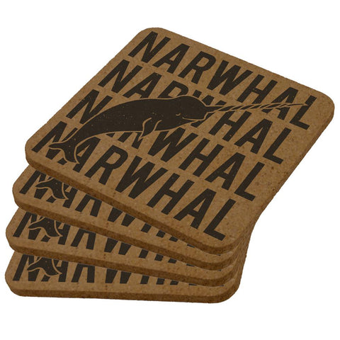 Narwhal Stack Repeat Square Cork Coaster (Set of 4)