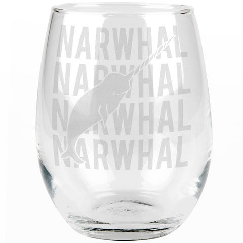 Narwhal Stack Repeat Etched Stemless Wine Glass