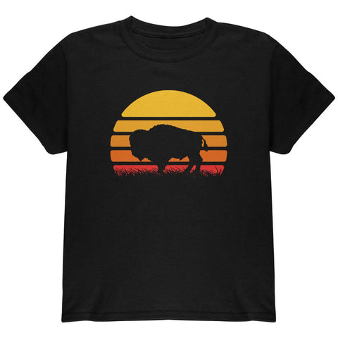 Retro 70s Sunset Buffalo Bison Youth T Shirt