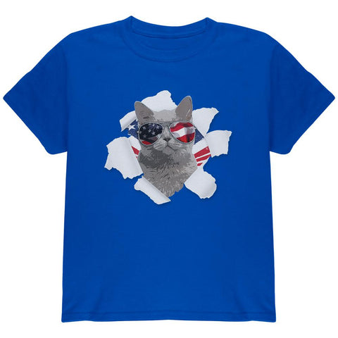 4th of July Meowica Americat Patriot Youth T Shirt