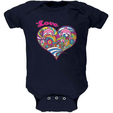 Heart Love Dolphin Ocean Soft Baby One Piece