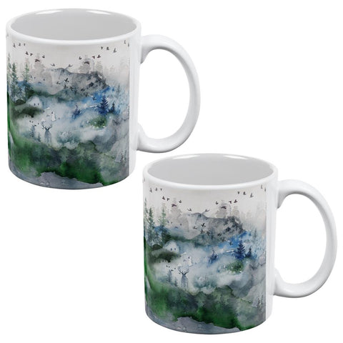 Watercolor Deer in the Mist All Over Coffee Mug Set of 2