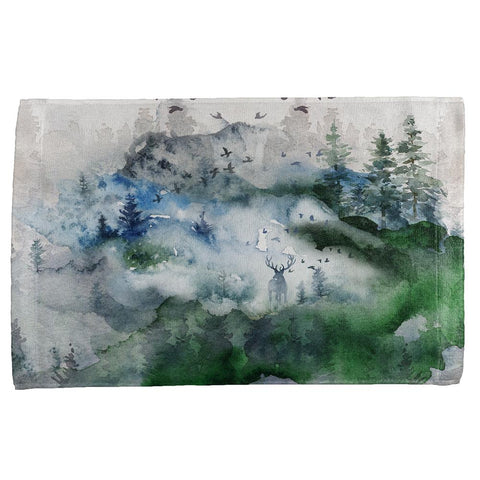 Watercolor Deer in the Mist All Over Hand Towel