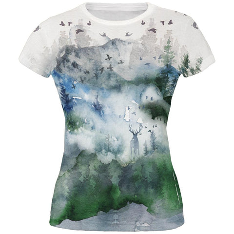 Watercolor Deer in the Mist All Over Juniors T Shirt