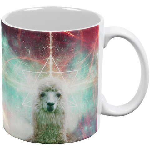 Galaxy Llama of Namaste Tetrahedron All Over Coffee Mug