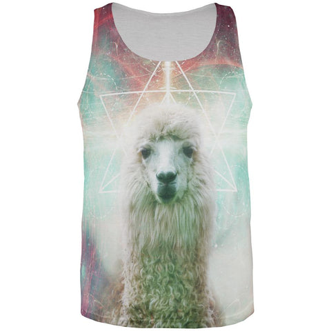 Galaxy Llama of Namaste Tetrahedron All Over Mens Tank Top