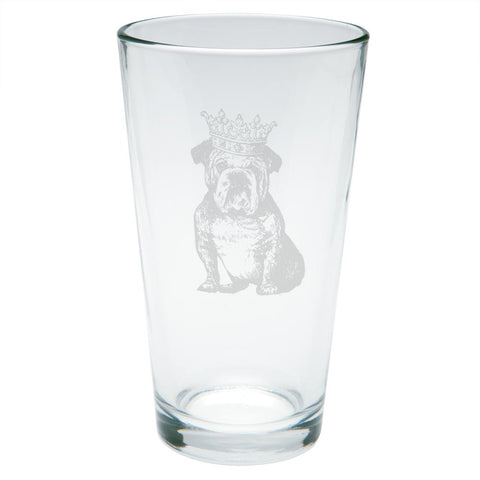 British Bulldog Crown Etched Pint Glass