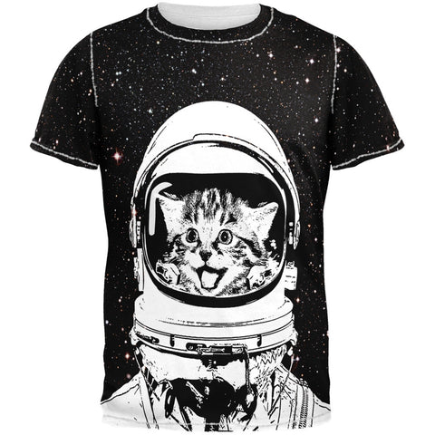 Cat Astronaut Adult Black Back T-Shirt