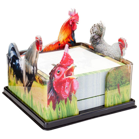 Roosters Grazing Acrylic Notepad Holder