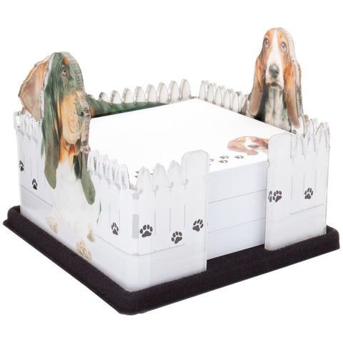 Basset With White Fence Acrylic Notepad Holder