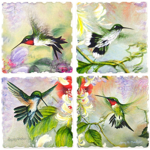 Hummingbirds Nature's Gifts of Feathers 4 Pack Coaster Set