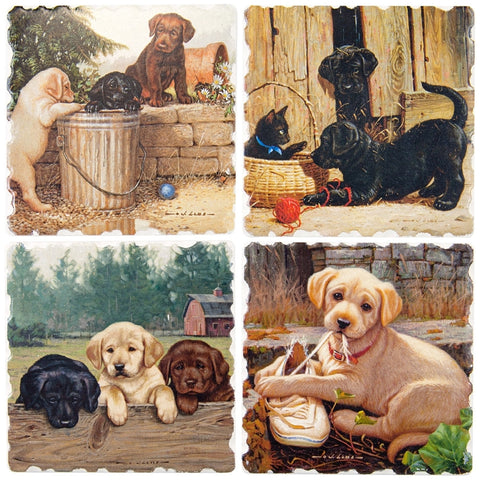 Labradors Friends For Life 4 Pack Coaster Set