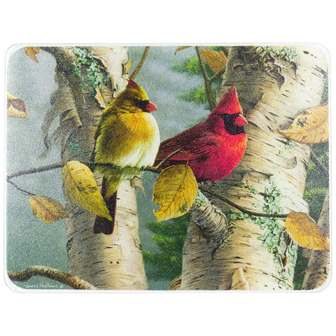 Cardinals In A Tree Large Cutting Board