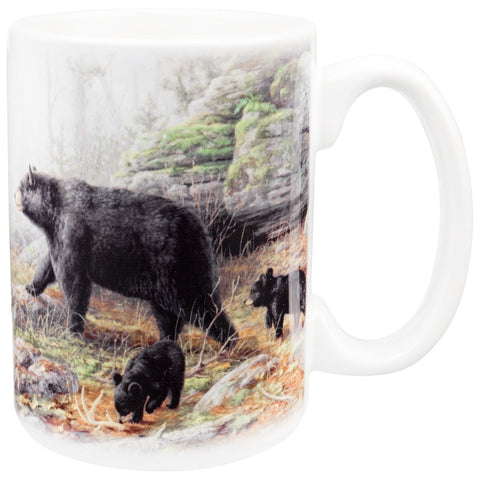 Bear and Cubs Walking the River Coffee Mug