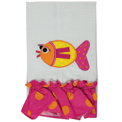 Fish Swimming Ruffled Guest Towel