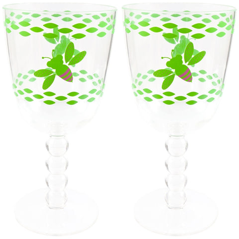 Bee Set Of Two Wine Glasses