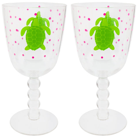 Turtle Swimming Set Of Two Acrylic Wine Glasses