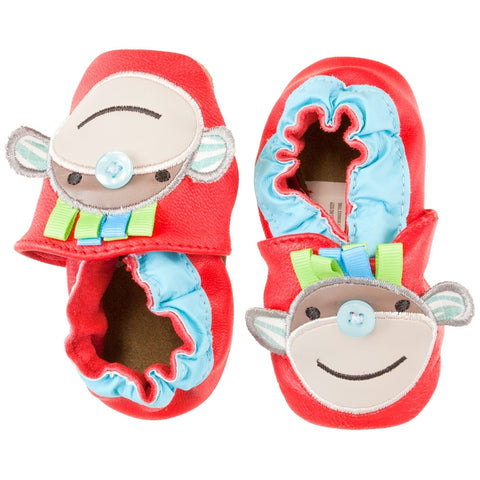 Monkey Button Nose Leather and Suede Flexible Infant Shoes