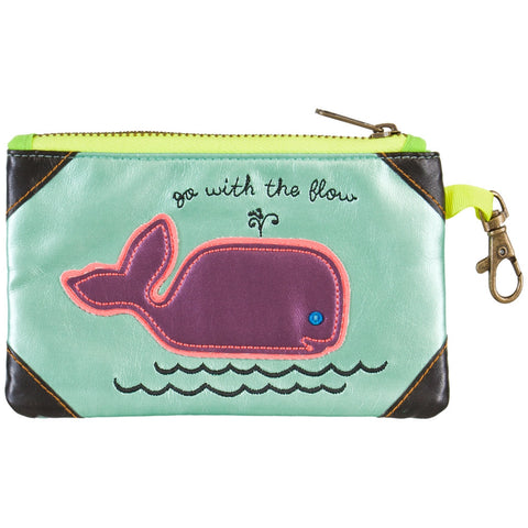 Whale Go With The Flow Vegan Leather ID Pouch