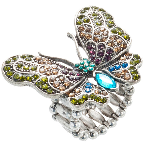 Butterfly With Open Wings Stretch Ring