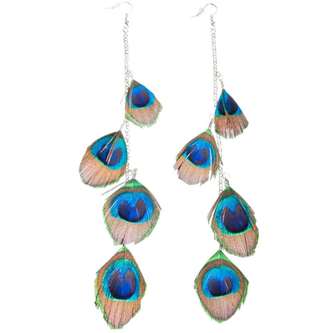 Ruffle Your Feathers Peacock Feather Earrings