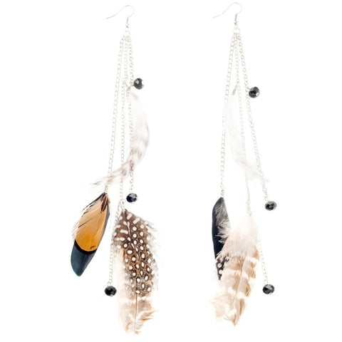 Bird Tweedle Dee Feather Earrings